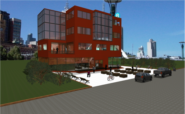 3D image view of a high rise building dwg file