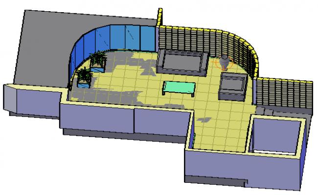 3D living room design drawing