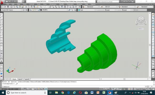 3D model of step cone flat pulley