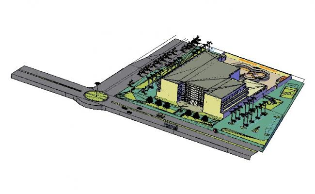 3D model of the multistory building in dwg file