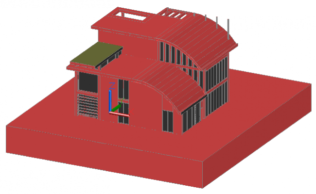 3D modern house design drawing