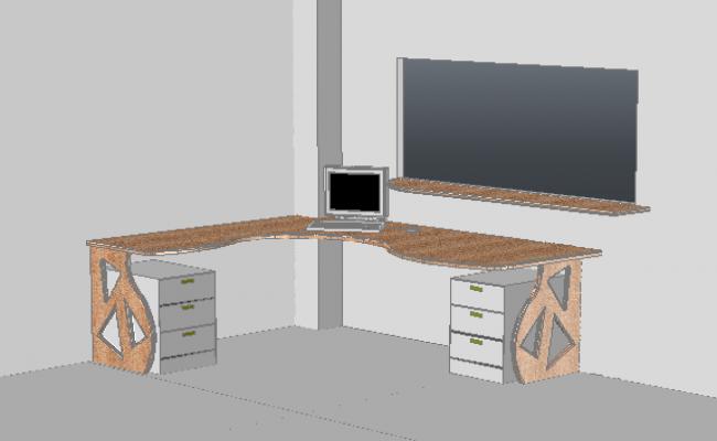 3D office desk furniture designer drawing