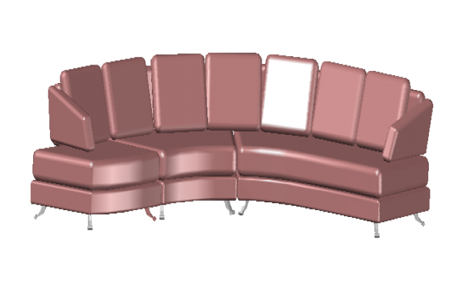 3D sofa rolf benz in square design drawing for family used