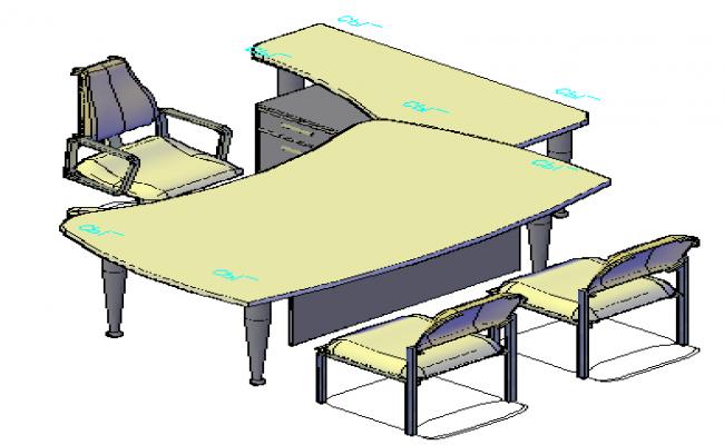 3D table of desktop management table design drawing