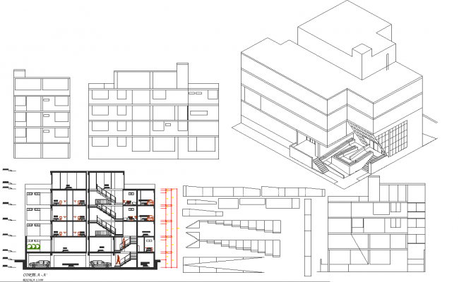 3D view detail, Section and elevation detail dwg file
