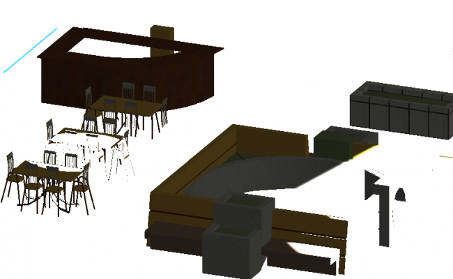 3D view of a restaurant living room