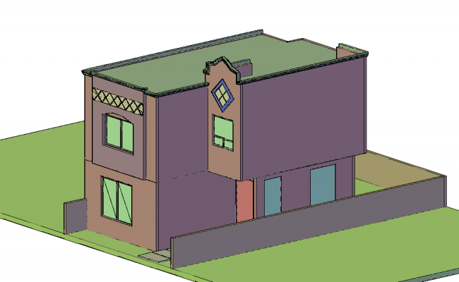 3D view of bungalows design dwg file