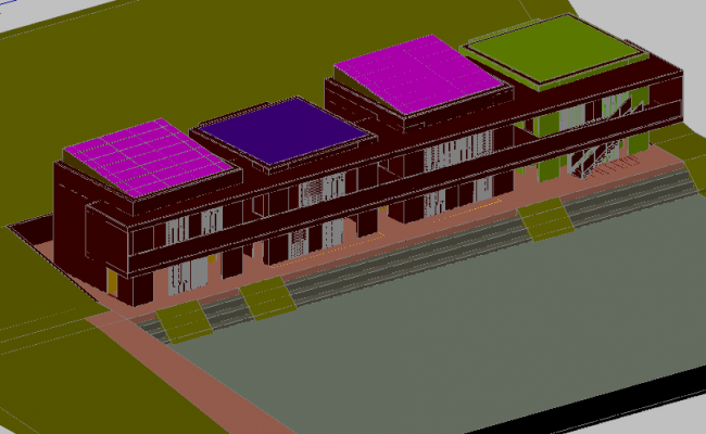 3D view of comm unitary home dwg file