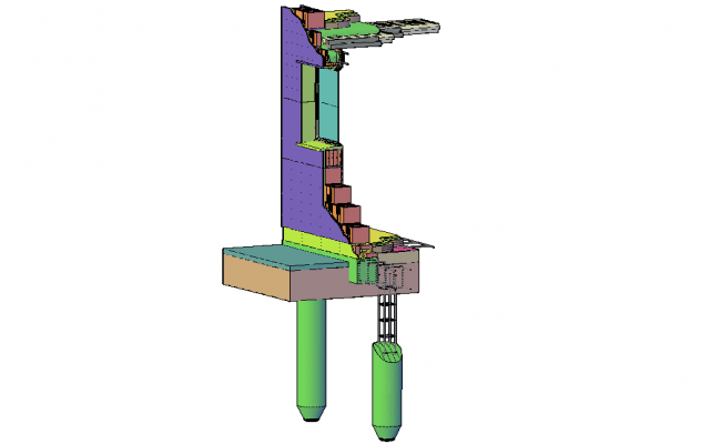 3D view of construction detail view dwg file