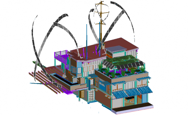 3D view of high rise container building dwg fie