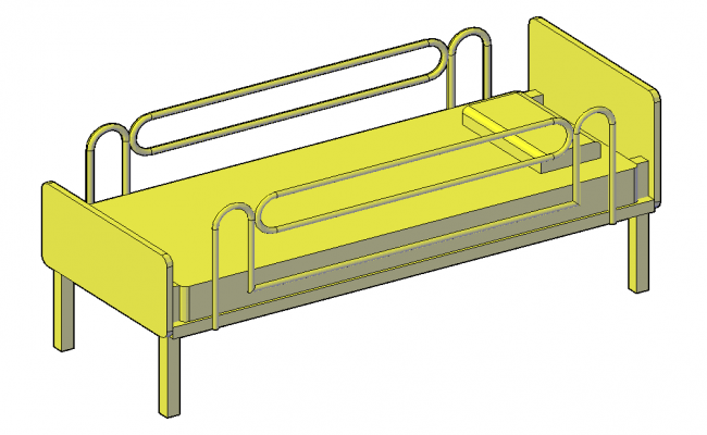 3D view of hospital bed with furniture view dwg file