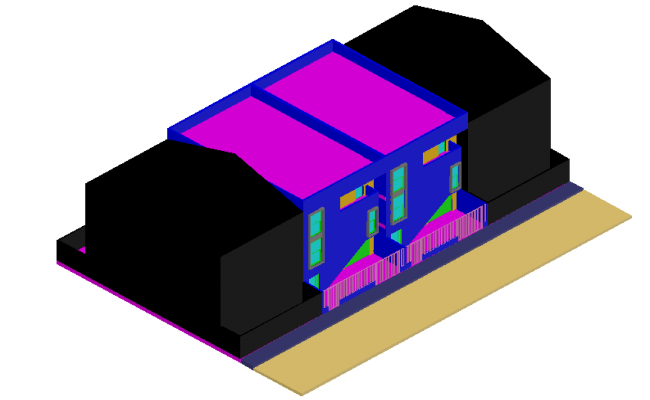 3D view of house dwg file