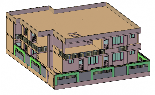 3D view of house with architectural view dwg file