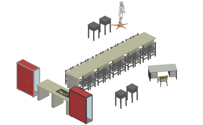3D view of laboratory furniture view with human body dwg file