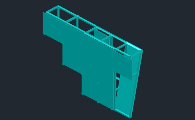 3D view of metallic structure view of ceiling dwg file