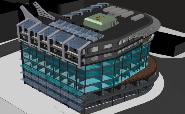 3D view of model of high rise building dwg file