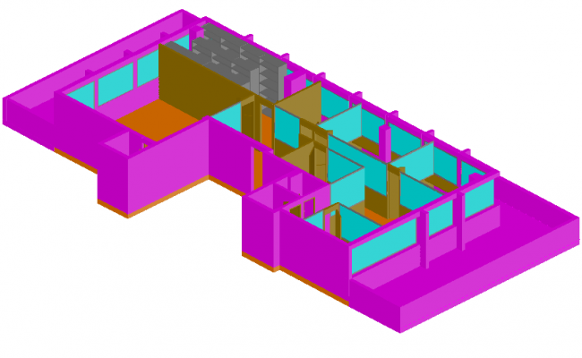 3D view of office building with box type view dwg file