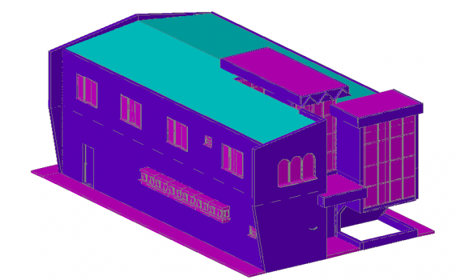 3D view of theater for civic center dwg file