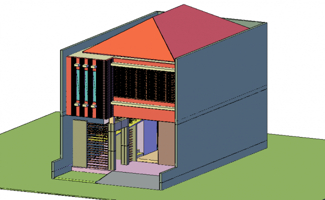 3D workshop view with architectural view dwg file