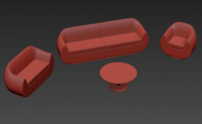 3DS Max Round Sofa With Round Shape Center Table Model Free Download