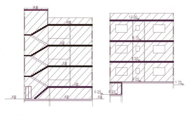 3 Level Apartment Building Section Drawing AutoCAD File