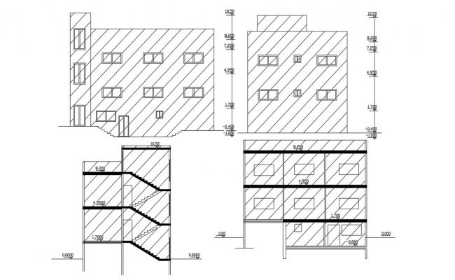 3 Level House Building Design DWG File
