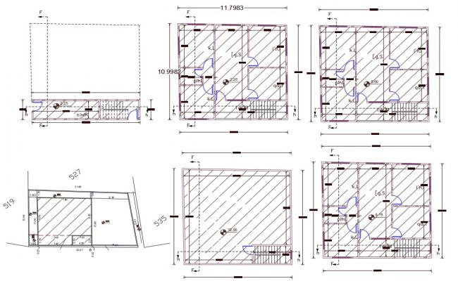 3 Storey Apartment Floor Layout Plan AutoCAD File