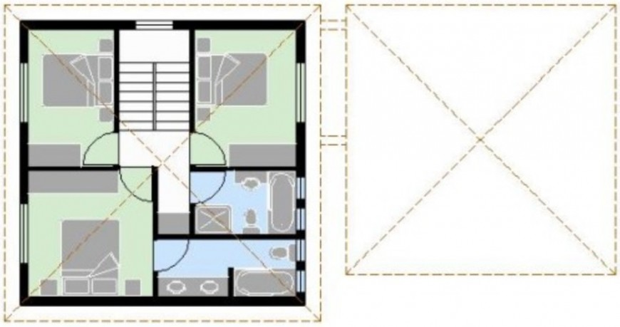 3 bedrooms with top view cad file