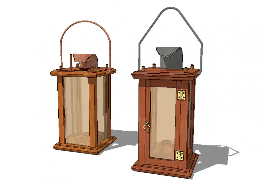3 d Antique Wooden Candle Lantern plan autocad file