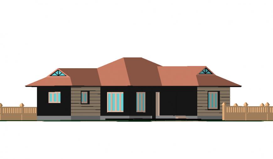 3 D House model front elevation autocad file