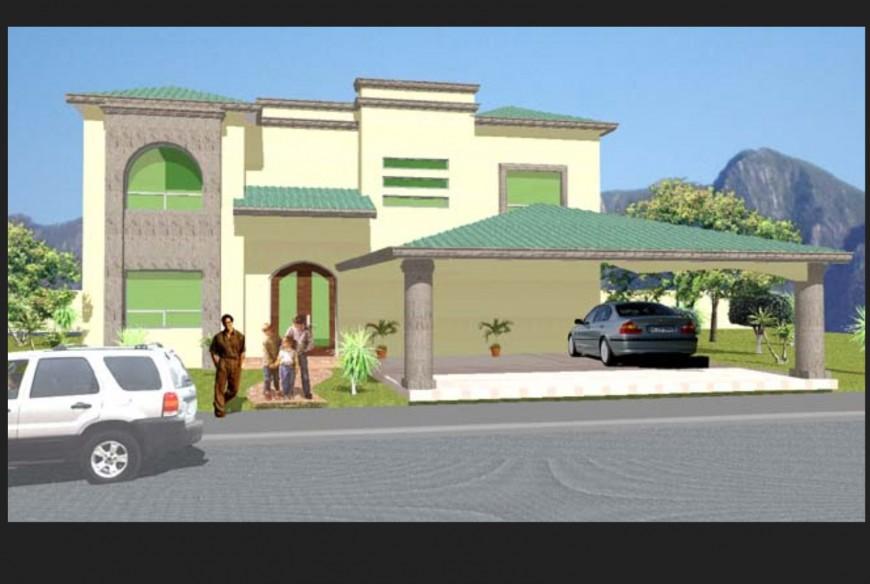 3 D housing modal, front elevation detail