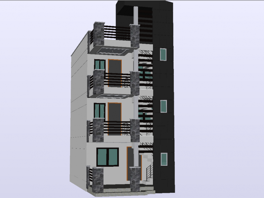 3 D modal apartment front elevation detail dwg file