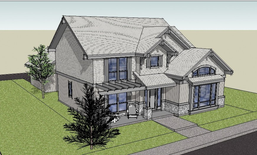 3 D modal home planning detail dwg file