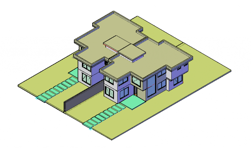 3 d row-house planning detail dwg file