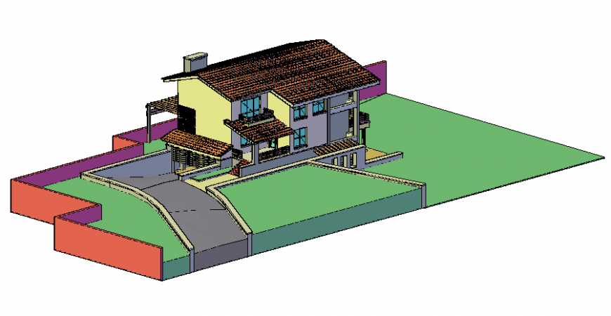 3 d villa house modal layout file