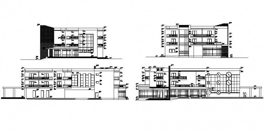 3 floor hotel section and elevation drawing in dwg file.