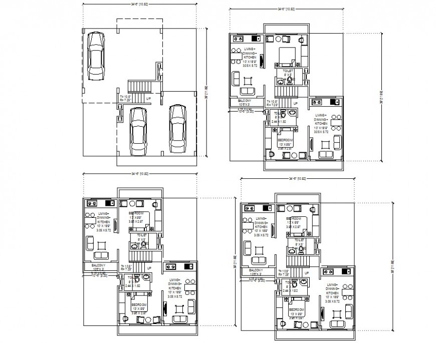 3 floor residence apartment layout plan cad file