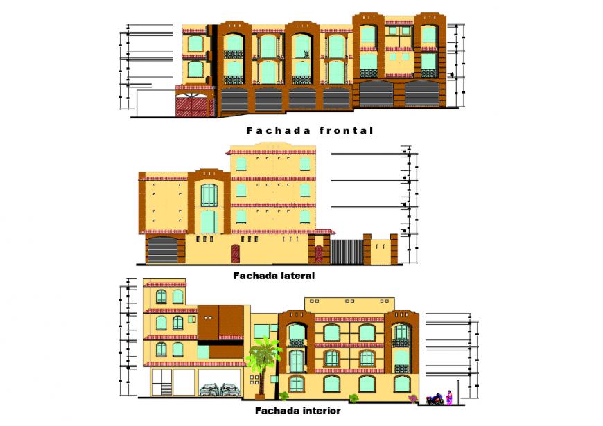 3 store apartment Floor elevation detail