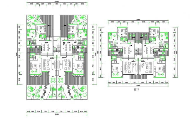 3d BHK Residence Bungalow Furniture Plan