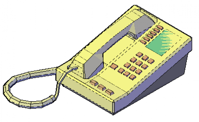 3d Block of telephone design drawing