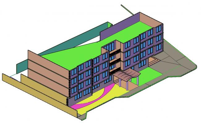 3d Building Design In DWG File