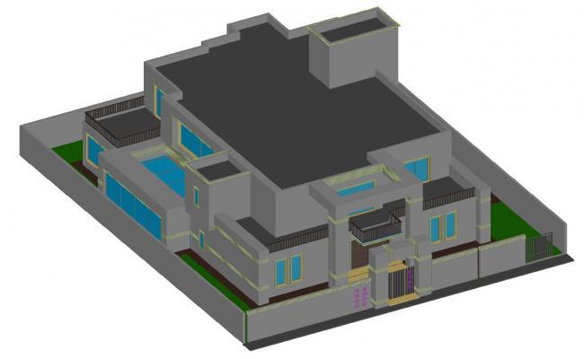 3d Bungalow Design CAD file