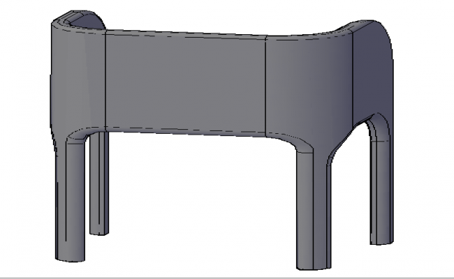 3d Design of single chair dwg file