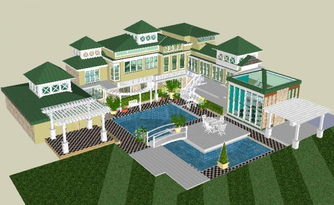 3d Drawing of Villa design in AutoCAD