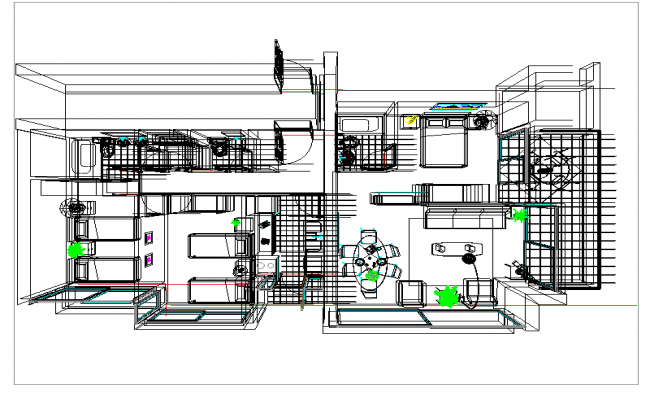 3d House with furniture detail dwg file