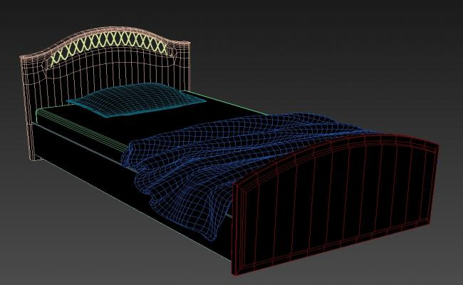 3d King Style Single Storage Wooden Bed MAX File