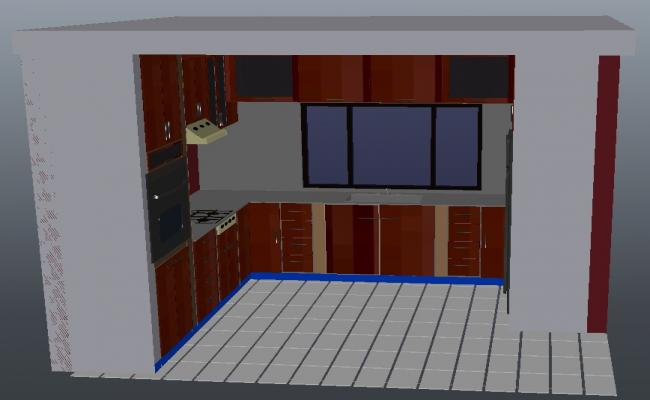 3d model kitchen in AutoCAD file