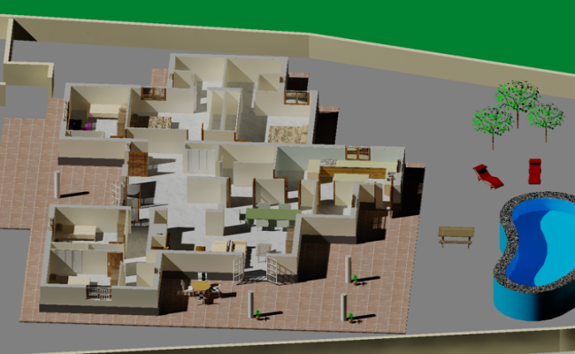 3d Luxurious Residence plan dwg file