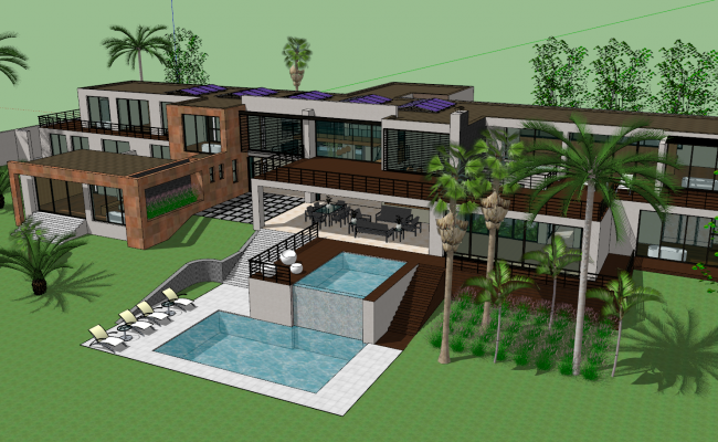 3d modern house design sketch up file for Design hotel 3d