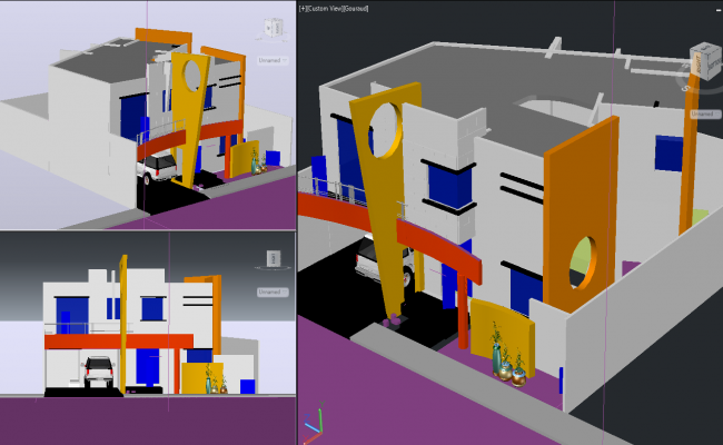 3d Modern bungalow Project detail dwg file